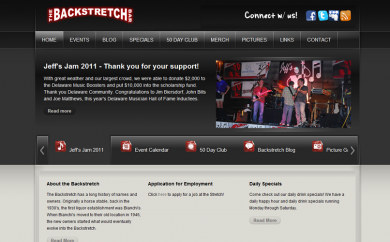 The Backstretch Bar Website Screenshot