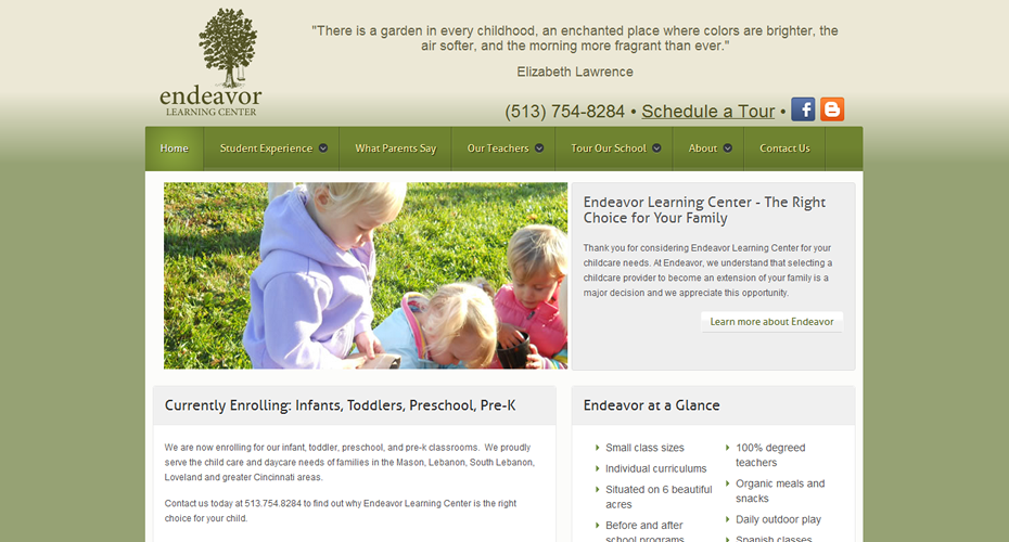 Endeavor Learning Center Website Screenshot