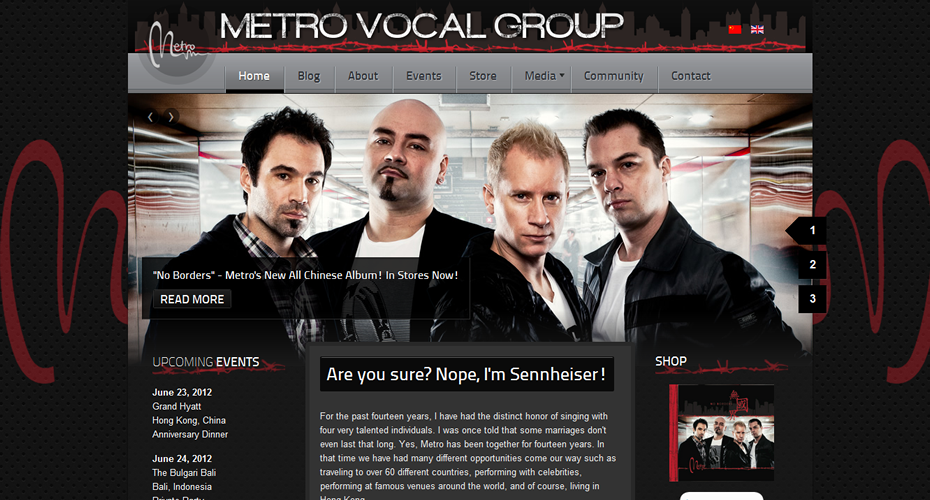 Metro Vocal Group Website Screenshot