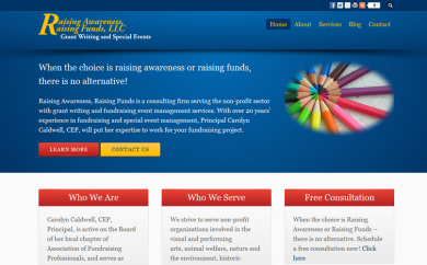 Raising Awareness, Raising Funds Website Screenshot