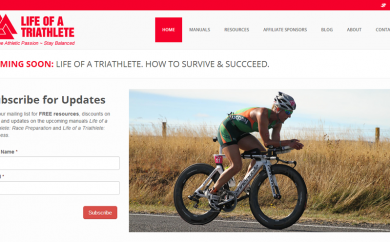Life of a Triathlete Website Screenshot